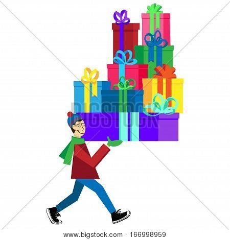 Flat vector Greeting Card illustration isolated with guy buying presents and boxes for Valentine's Day, holidays or Birthday. Valentine's day sales shopping. Love Mountain Gifts for You