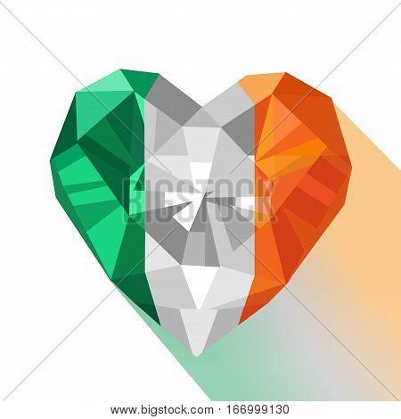 Vector crystal gem jewelry Irish heart with the flag of the Republic of Ireland. Flat style logo symbol of love Ireland. Saint Patrick's Day. Europe