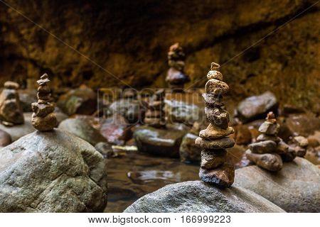 Stones Balance Near Waterfall. Concept Of Harmony.