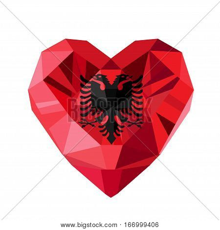 Vector crystal gem jewelry Albanian heart with the flag of the Republic of Albania. Flat style logo symbol of love Albania. Independence Day. November 28. Europe