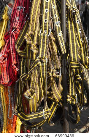 Handmade red yellow and brown colored halters for riders for sale at farmers market