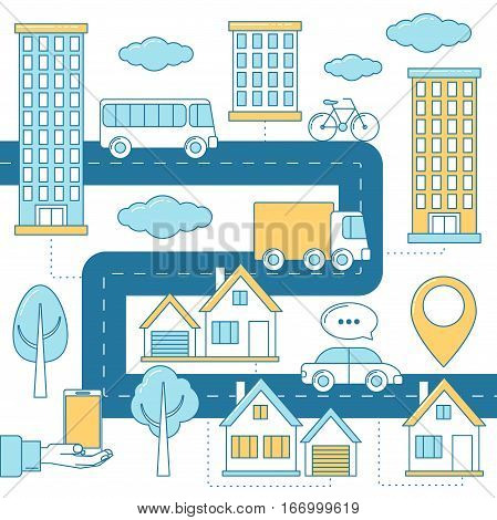 City transport system with vehicles on a road. Car bike bus and truck driving along surrounded by houses. Skyscrapers and suburb with trees