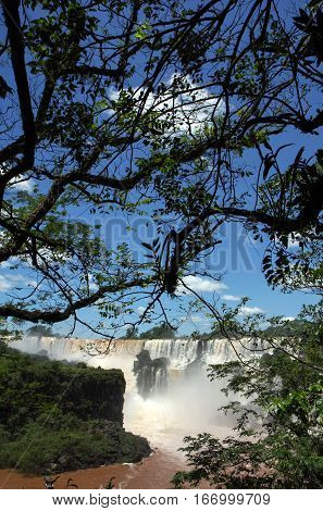 View to the Iguazu falls from Argentinian side