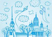 Hand drawn sights of Saint-Petersburg, Russia: Peter and Paul Fortress and St. Isaac's Cathedral. Vector illustration in cartoon style with historical buildings and blue sky, clouds, balloons, kite poster