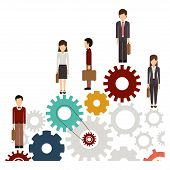 Gear and businesspeople icon. Teamwork people corporate and workforce theme. Isolated design. Vector illustration poster