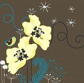 sweet garden with little bird poster