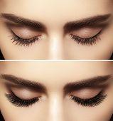 Beautiful macro shot of female eye with classic smoky makeup. Perfect shape of eyebrows brown eyeshadows and long eyelashes.Closeup macro shot of fashion smoky eyes visage. Before and after poster
