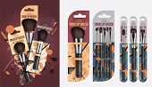 Realistic makeup brush set isolated vector illustration. Makeup brush brand template. Fashion and beauty professional artist makeup brush in package, decorative cosmetic concealer powder tool. Makeup brush packaging design. Template of makeup brush. poster
