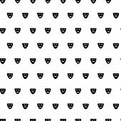 Vector hand drawn cartoon seamless pattern with comedy and drama mask. Cinema theater theme. Black and white comedy and drama pattern for paper textile polygraphy game web design poster