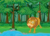 rainforest and water cartoon scene poster