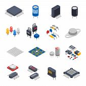 Isolated semiconductor electronic components isometric icons set with circuit board elements microprocessors electrolytic capacitors and microchips vector illustration poster