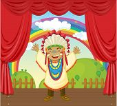 indian on stage (vector available in portfolio) poster