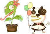 Illustration of flower pot and cartoon character on white poster