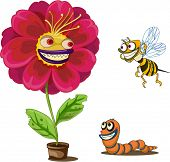Illustration of flower pot and insects on white poster