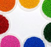 Polymeric dye. Plastic pellets. Colorant for plastics. Pigment in the granules. poster