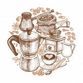 Kitchen implements for cooking coffee. Vintage hand drawing. Composition in a circle. Coffeepot Turkish cezve coffee-grinder cup milk jug dessert spoon coffee beans spices. Vector illustration poster