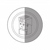 silhouette sticker with portrait lego woman worker with helmet vector illustration poster