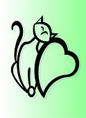 Cat leaning on heart against gradient background poster