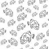 Titan triggerfish pattern, Balistoides viridescens background, drawn with a pencil red sea fish poster