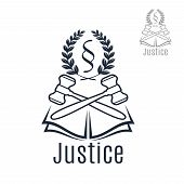 Law icon of judge gavel, heraldic laurel wreath and justice legal code silcrow section sign or paragraph symbol on open book. Lawyer or advocate emblem for law attorney or advocacy office, juridical counsel center or notary company poster