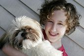Image of a young teen girl and her Shih Tzu poster