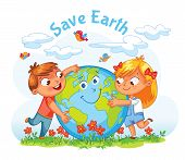 Save Earth. April 22 - Earth Day. Boy and girl hugging the Globe. Funny cartoon character. Vector illustration. Isolated on white background poster