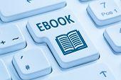 Ordering E-book Ebook download internet symbol blue computer keyboard poster