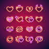 Set of Valentines neon hearts makes it quick and easy to customize your romance projects. Used neon vector brushes included. poster