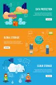 Data protection, global storage and cloud storage. Data security, data privacy, security and data stream, data backup, cloud computing, online storage, data storage, internet web illustration poster