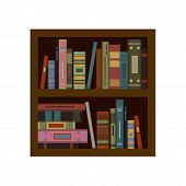 Huge stack of old flat colorful books and tutorials on a bookshalf. Modern flat classbooks and textbooks icon. Education symbol logo. Illustration vector art. poster
