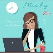 Monday working day. Woman planning her work for a week. Girl writing a plan of her actions for a week. Part of series of daily routine of the week. Working hours, schedule. Vector illustration. poster