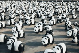 Bangkok, Thailand - March 4, 2016: Panda+ World Tour by WWF (World Wildlife Fund) set for to raise an awareness to conserve pandas, which near extinct, wildlife and environments.
