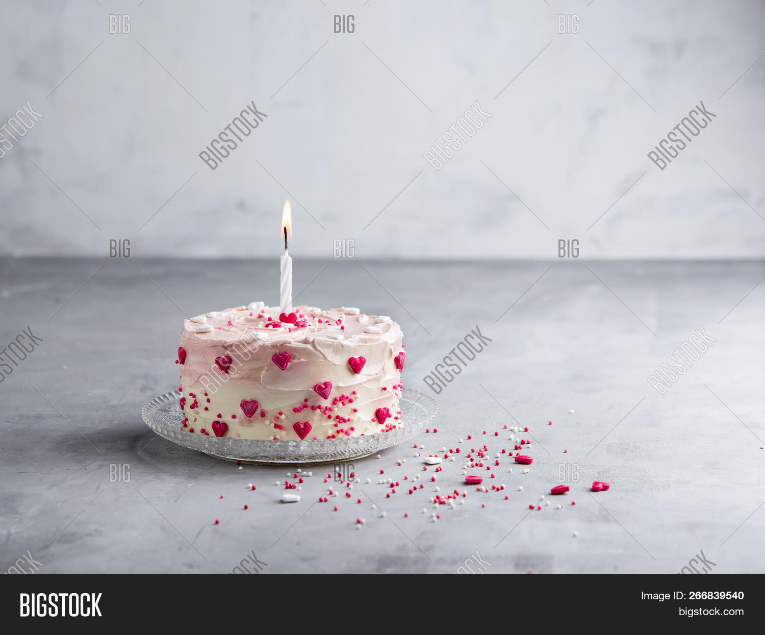 Cake With Small Hearts And Colorful Sprinkles One Candle On Light Background Romantic Love
