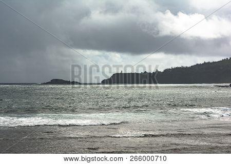 View Of Kilauea Point And Mokuaeae Island From Kalihiwai Bay, Kauai, Hawaii