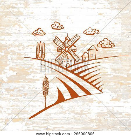 Windmill Drawing Icon On Vintage Background. Vector Food Illustration.