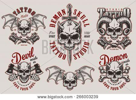 0a68d9ca Vintage demon tattoo studio prints set with horned devil skulls crossed  axes bones tattoo machines sword isolated vector illustration