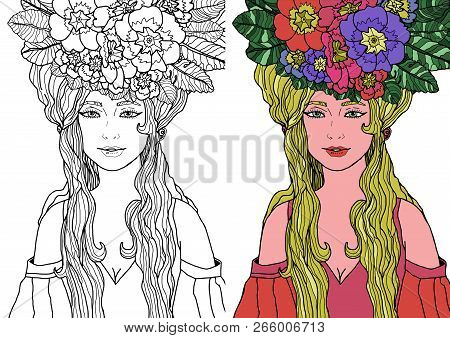 Illustration Of Isolated Fairy With Long Hair In Elegant Dress Surrounded By Primula Flowers. Vector