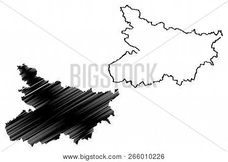 Bihar (states And Union Territories Of India, Federated States, Republic Of India) Map Vector Illust