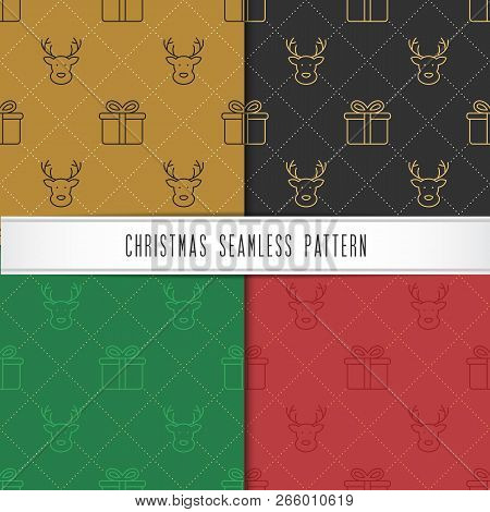 Christmas And Happy New Year Seamless Pattern. Winter Holiday Pattern For Background Or Gift Wrappin