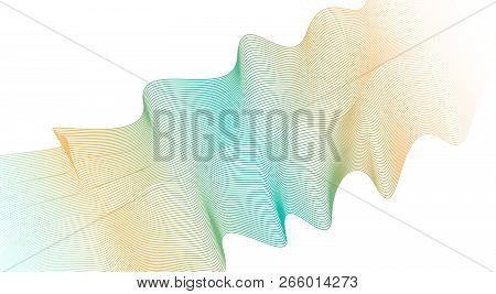 Wave Pattern Of Orange, Turquoise Gradient. Colored Ribbon, Scarf Imitation. Vector Pulsating Lines.