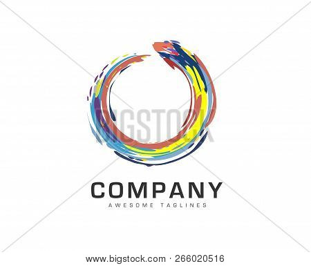 Abstract Circle Business Company Logo. Corporate Circle Rainbow Color Identity Design Element. Color