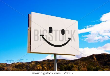 White Roadside Smile Billboard
