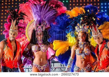 Moscow, Russia- January 2017: Brazilian Carnival Show. Beautiful Girls And Boys Bright Colorful Carn