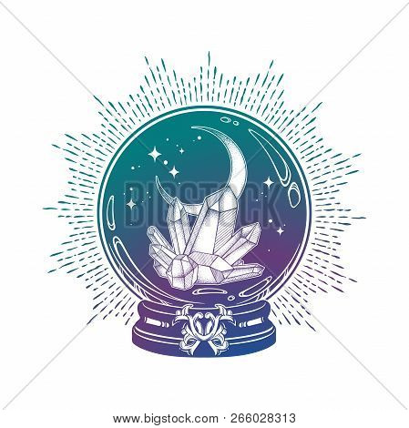 Hand Drawn Magic Crystal Ball With Gems And Crescent Moon Line Art And Dot Work. Boho Chic Tattoo, P