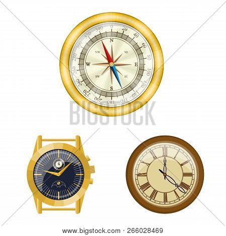 Vector Design Of Clock And Time Sign. Collection Of Clock And Circle Stock Vector Illustration.
