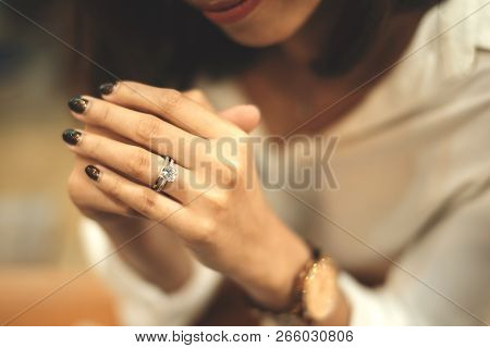 An Engagement Ring,an Engagement Ring Is A Ring Indicating That The Person Wearing It Is Engaged To