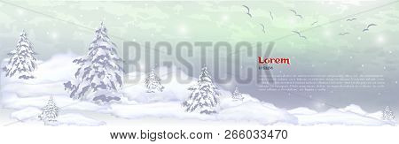 Realistic Composition Of Winter Forest And White Snow. Vector Banner, Web Header Of Winter Pines, Ch
