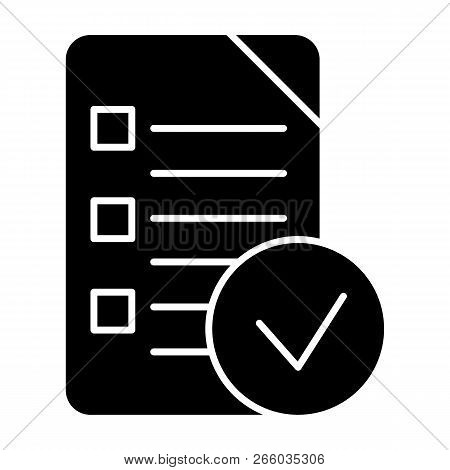 Chek List Solid Icon. Clipboard Vector Illustration Isolated On White. Document Glyph Style Design,
