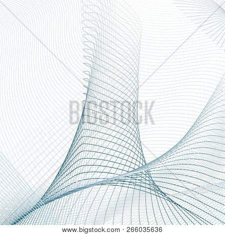 Vector Curved Lines On White Background. Technology 3-dimensional Effect. Abstract Line Art Pattern.