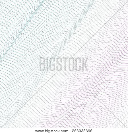 Colored Squiggle Net With Diagonal Drapery. Turquoise, Pink Waving Subtle Lines, Curves. Vector Abst